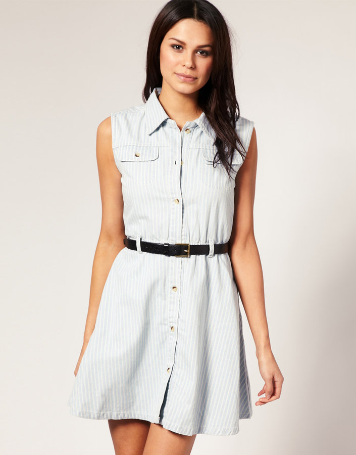 Motel Denim A-Line Shirt Dress