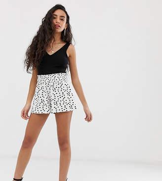 Asos DESIGN Petite shirred waist short in polka dot print