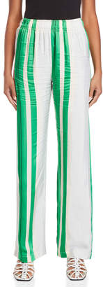 Alysi Striped Wide Leg Satin Pants