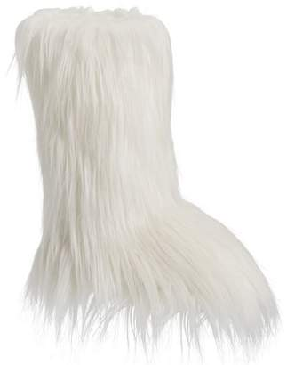Pottery Barn Teen Himilayan Ivory Faux-Fur Tall Booties, X-Large