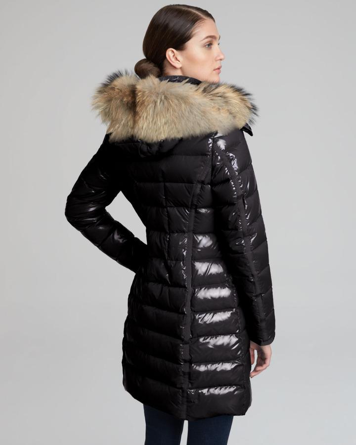 Moncler Fur-Hooded Long Puffer Coat, Black