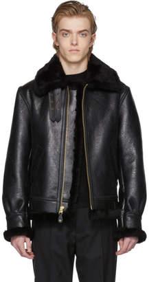 Schott Black B-3 Shearling Jacket