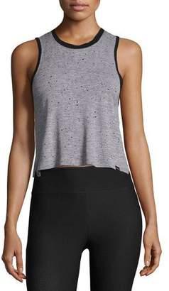 Koral Activewear Crescent Sleeveless Crop Top, Gray