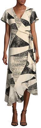 Halston H Asymmetric Hem Short-Sleeve Wrap dress