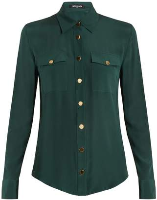Balmain Button-detail silk blouse