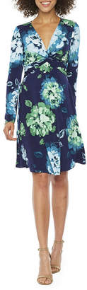 London Times Long Sleeve Floral Fit & Flare Dress
