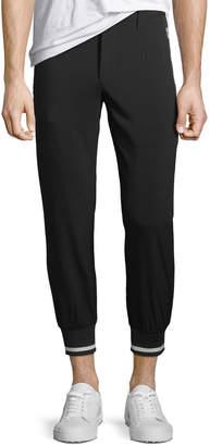 Karl Lagerfeld Paris Ribbed-Cuff Woven Jogger Pants