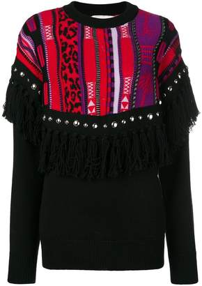 Laneus fringed knit sweater