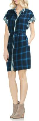 Vince Camuto Tartan Plaid Ruffle Sleeve Tie Waist Dress