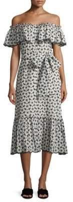Lisa Marie Fernandez Mira Cotton Off-The-Shoulder Eyelet Dress
