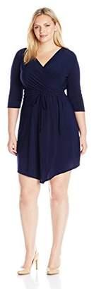 Star Vixen Women's Plus-Size 3/4 Sleeve Wrap Bodice Short Ity Knit Ballerina Dress