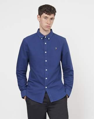 Farah Brewer Long Sleeve Oxford Shirt Navy