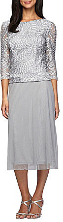 Alex Evenings Alex Evenings Petite Embroidered-Bodice Chiffon Dress