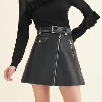 Maje Leather A-line skirt