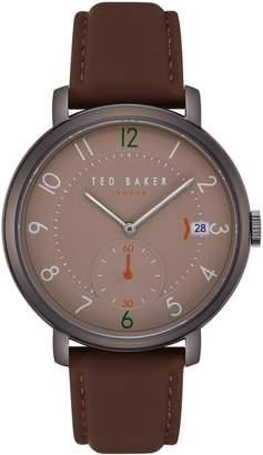 Ted Baker Oscar Leather Strap Watch, 43mm