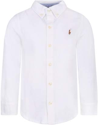Ralph Lauren White Boy Shirt With Colorful Iconic Pony