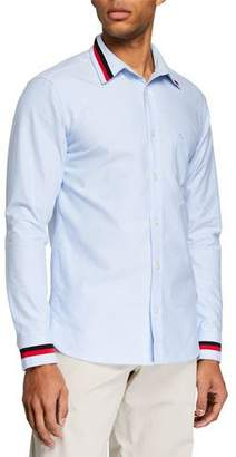 Burberry Men's Harry Long-Sleeve Sport Shirt with Striped Trim