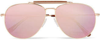 Tom Ford Sean Aviator-style Rose Gold-tone Mirrored Sunglasses - Pink