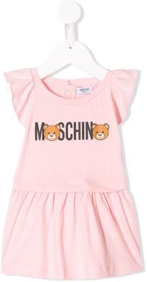 Moschino Kids logo print ruffled dress