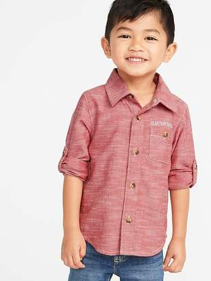 Old Navy Graphic Roll-Sleeve Pocket Shirt for Toddler Boys