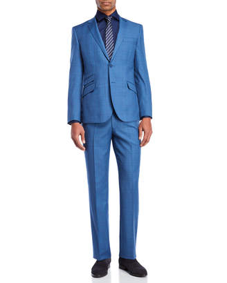English Laundry Two-Piece Blue Sharktooth Plaid Suit