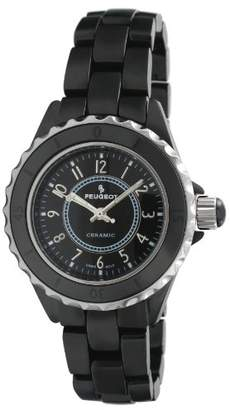 Peugeot Women's PS4895BK Swiss Ceramic Black Sport Bezel Watch