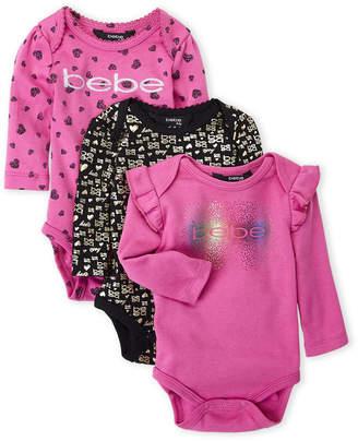 Bebe Newborn Girls) 3-Pack Logo Print Long Sleeve Bodysuits