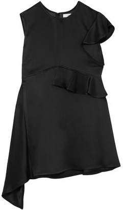 Adeam Asymmetric Ruffled Satin Top
