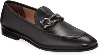 Salvatore Ferragamo Men's Smooth Leather Loafers with Chain Bit