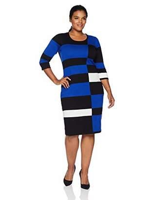 Gabby Skye Women's Plus Size 3/4 Sleeve Scoop Neck Midi Sweater Sheath Dress
