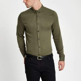 River Island Khaki long sleeve slim fit shirt