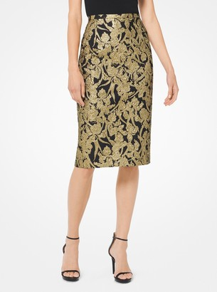 Michael Kors Floral Brocade Pencil Skirt