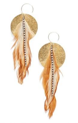 Women's Serefina Feather Disk Drop Earrings $75 thestylecure.com