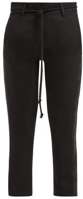 Ann Demeulemeester Floral Jacquard Panelled Wool Trousers - Womens - Black