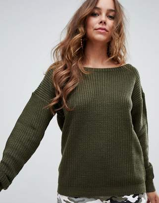 Missguided off shoulder knitted jumper in khaki