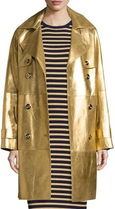 Michael Kors Metallic Leather Double-Breasted Trenchcoat, Gold $5,995 thestylecure.com