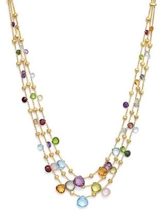 Marco Bicego 18K Yellow Gold Paradise Three Strand Mixed Stone Necklace, 16.5""
