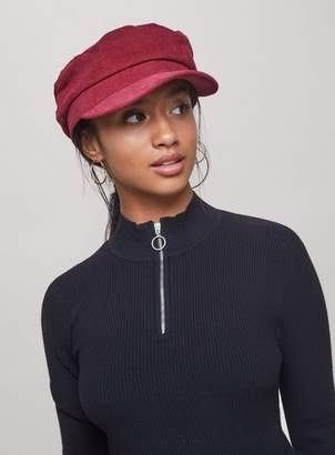 c15768bfb2f Miss Selfridge Burgundy corduroy baker boy hat
