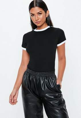 Missguided Black & White Stripe Ringer T Shirt