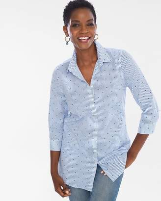 No Iron Cotton-Blend Dot-Striped Pocket Tunic