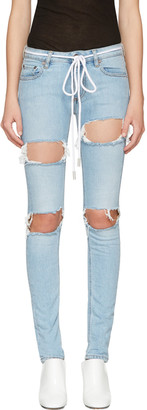 Off-White Blue Diagonal Ripped Skinny Jeans $590 thestylecure.com