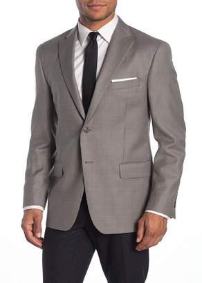 Hart Schaffner Marx Navy & Purple Plaid Two Button Notch Lapel Wool Regular Fit Jacket