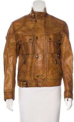 Belstaff Leather Zip-Up Jacket w/ Tags