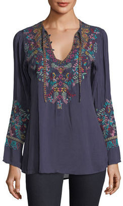 Johnny Was Sheesoh Georgette Blouse w/ Embroidery $235 thestylecure.com