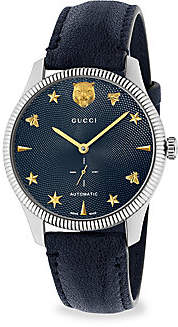 Gucci Women's G-Timeless Stainless Steel Case 40MM Automatic Blue Guilloché Dial Blue Leather Watch