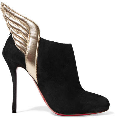 Christian Louboutin - Mercura 100 Metallic Leather-trimmed Suede Ankle Boots - Black