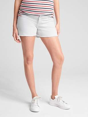 Gap Maternity Inset Panel Denim Shorts with Distressed Detail