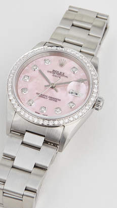 Rolex Pre-Owned 34mm Date Model Pink Mop Diamond Dial, Diamond Bezel, Oyster Band