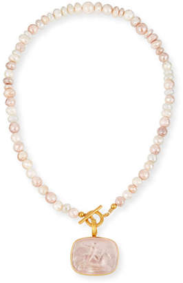 Dina Mackney Blush Italian Glass & Sapphire Necklace