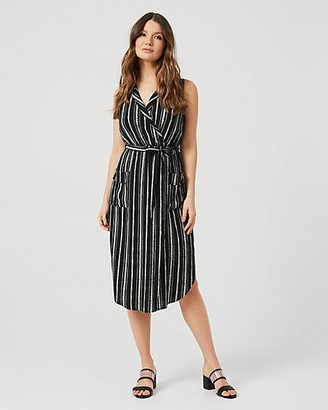 Le Château Stripe Viscose Belted Shirtdress